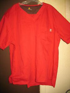 6 Men's XL Carhartt Red Scrub Top Ripstop Fabric Dental Doctor C15108 New & Used