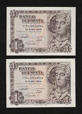 F.C. PAREJA CORRELATIVA 1 PESETA 1948 , SERIE Ñ , S/C .