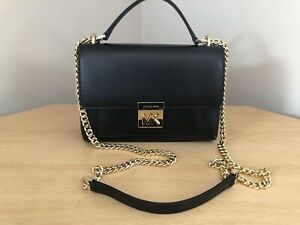 MICHAEL KORS Womens Shoulder Black Mindy Leather Chain Bag New With Tags