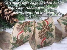 50mm bertie/'s bows journal style imprimé toile de jute de hesse craft ribbon