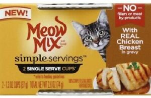 4-Meow Mix Simple Servings Real Chicken Breast  (8-1.3oz) Individual Servings