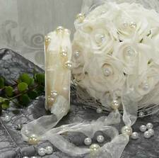 12 m Perlenband (0,65 €/m) Hochzeit Schmuckband creme Dekoband mit Perlen 10mm