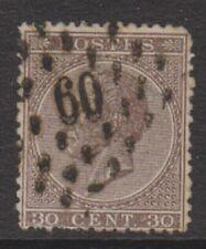 Belgium - 1865/6, 30c Brown - Perf 14 1/2 x 14 - Used - SG 31