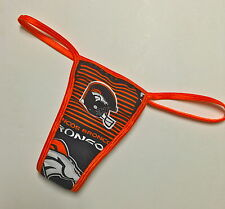 NFL DENVER BRONCOS PANTY/THONG/ ORANGE TRIM COTTON LINED XS/SMALL 32-34 INCH HIP