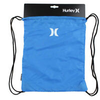 Hurley One & Only Training Drawstring Cinch Sack Beach Gym Bag -- Blue White