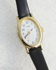 Timex Women's Watch Gold Tone Case White Dial Black Leather