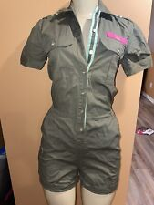 CAVI Green Military Style Shirt Shorts Romper One Piece Overall Rare Sz 2 26