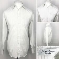 "YVES SAINT LAURENT Check Shirt Size 15""/38 In White Long Sleeve Formal Casual"