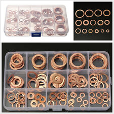 150pc Assorted Solid Copper Crush Washers Seal Flat Ring Fuel Hydraulic Fittings