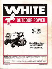 White Outdoor GT-185 User & Service Manual Yard Lawn Tractor PDF Briggs 18HP Eng