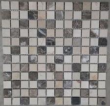 Mosaic Marble Stone Tiles Floor Wall Brown / Cream Mix Bathroom 30x30 M528, NEW