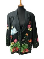 Vtg Anage Womens Blazer Jacket 70s Garden Floral Embroidered Lined Black Sz XL