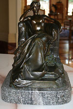 MAGNIFICENT 19C FRENCH BRONZE SEMI NUDE FIGURE BY RAYMOND SUDRE