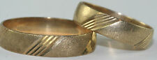 VTG 1980'S PAIR OF 10K GOLD MENS WOMENS MATCHING WEDDING BAND RINGS SIZE 7 & 11