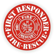 First Responder Firefighter Helmet Decal / Hard Hat Sticker Label Rescue Fire