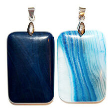 Blue Onyx Banded Stone Pendant Rectangle 30X40X7 With Bail Pendants Beads Pen24