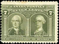 1908 Mint Canada F Scott #100 7c Quebec Tercentenary Issue Stamp Hinged