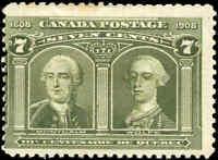 1908 Mint H Canada F Scott #100 7c Quebec Tercentenary Issue Stamp