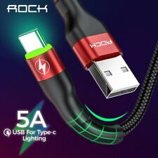 ROCK Type C 5A LED Light USB Type C Cable USBC Fast Charging QC 4.0 Charger