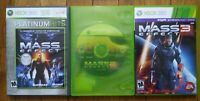 USED - Mass Effect 1 2 3 (Microsoft Xbox 360) Lot of 3 Bundle - Free Shipping