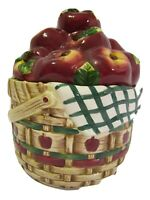 Cookie Jar by Youngs Inc Red Apples in A Basket Ceramic great condition
