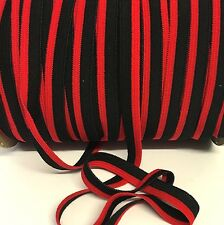 5 metres,black and red striped flat elastic for headbands etc