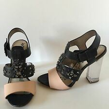 Sam Edelman Yara Leather Heels Sandals With Studs Black / Beige Size 7 US