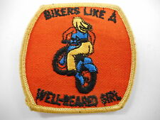 VINTAGE BIKERS LIKE A WELL REARED GIRL MOTORCYCLE EMBROIDERED PATCH   ..