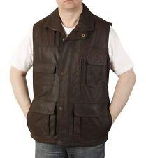 Mens Brown Leather Multi Pocket Gilet
