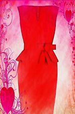 KAREN MILLEN SIGNATURE RED COTTON PEPLUM BOW FIGURE HUGGING PENCIL DRESS UK  14