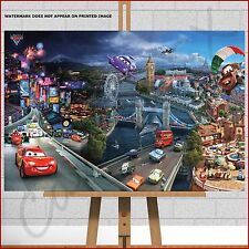 Disney Cars 2 Movie Canvas Print Picture Poster Kids Boys Bedroom Wall Art 30x20