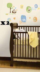 """2 Packs of Nursery Fun, Modern Baby Peel & Stick Wall Decals 10 x 18"""" RMK1777SCS"""