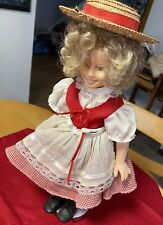 "Shirley Temple 1996 14"" The Danbury Mint Vinyl Doll Red & White Dress Preowned"