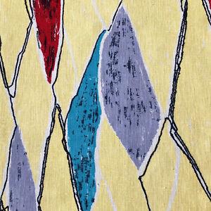 1950s VINTAGE COTTON FABRIC - AMAZING DESIGN OF PAINTERLY DIAMONDS - MID-CENTURY