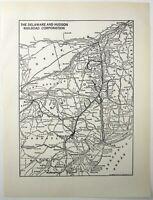 Original 1941 Delaware and Hudson Railroad System Map. Vintage