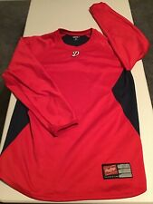 Men's Rawlings Long Sleeve Baseball Shirt Red w/ D Logo Size M