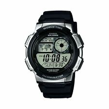 Casio Men's Digital Combi Watch With 5 Alarms & White Dial-Black Resin Bracelet