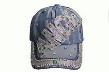 ANGEL Denim Rhinestone Studded HAT CAP ..  NEW