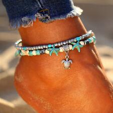 Boho Starfish Turquoise Beads Sea Turtle Anklet Beach Sandal Ankle Bracelet Retr