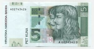 Croatia 5 Kuna 7-3-2001 Pick 37.a UNC Uncirculated Banknote