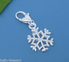 HELLO 10 Silver  Clip On Snowflake Charms. Fits Link Chain Bracelet 32x14mm