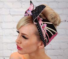 Manga Girl Pin up Rockabilly wide Reversible Wired Headband Headwrap