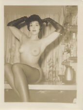 ORIGINAL SILVER PRINT OF BEAUTIFUL SULTRY NUDE WOMAN IN GLOVES   STOCKINGS