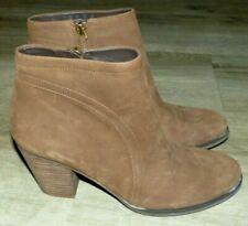 EUC Women's Size 9 Franco Sarto Disco Chocolate Brown Leather Zip Ankle Booties