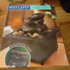 WAYLAND SQUARE MEDITATION CORDLESS STONE BASIN FOUNTAIN NEW IN ORIGINAL BOX