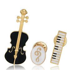 Special 3pcs Set Violin Piano Musician Note Jeans Collar Pin Brooch Pin Gifts