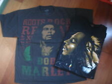BOB MARLEY T SHIRTS  ROOTS & BOB WITH LION  ZION LABEL  SIZE XL & M