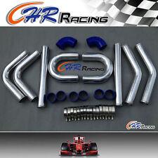 "NEW 3"" 76 mm Aluminum Universal Intercooler Turbo Piping pipe & Blue hose kits"