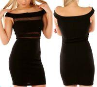 SeXy Miss Damen Carmen Style Mini Kleid Outcut  Netz Dress XS/S schwarz TOP