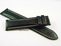 Special Offer:LONGINES 20mm BLACK Contrast Leather Padded Watch Strap Band ONLY
